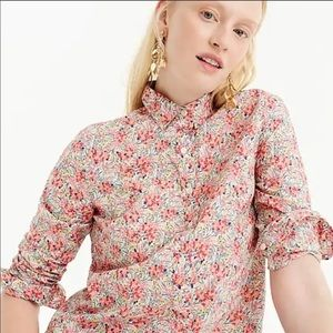 J. Crew Liberty Swirling Petals Popover Top 2P NWT